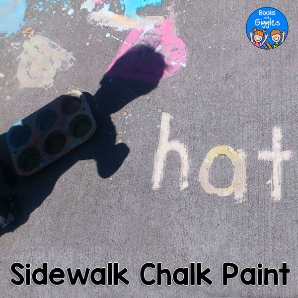 How to make sidewalk chalk paint in 6 colors at once, plus letter and sight word activity ideas