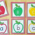 Preschool Apple Activity: Apple Seed Letter Tracing Cards {Free Printable}