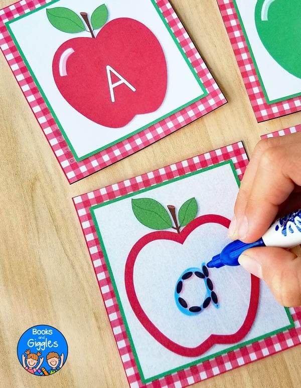 photograph about Apple Pattern Printable referred to as Preschool Apple Video game: Apple Seed Letter Tracing Playing cards