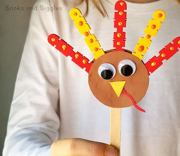 Kids will love this turkey puppet craft - it's fun to make and to play with. Just right for preschool, kindergarten, or first grade aged kids.
