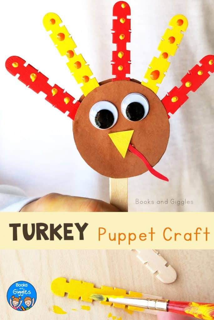 An adorable turkey puppet that kids can make and play with while reading any turkey book, but our favorite is 10 Fat Turkeys!