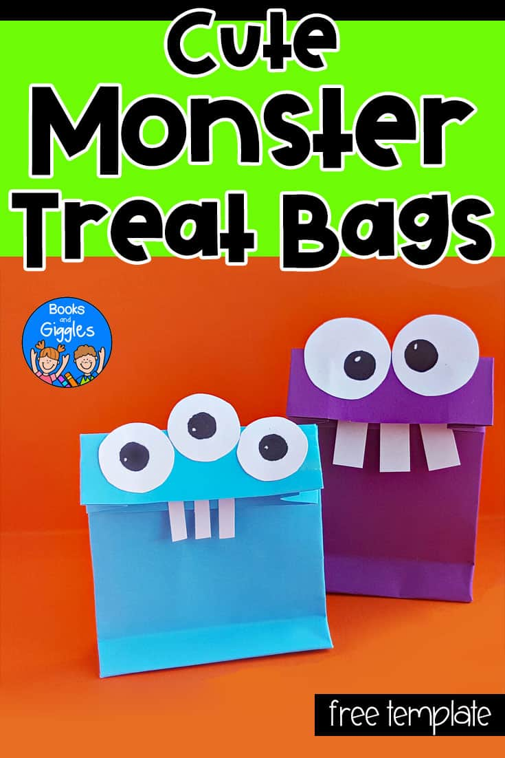 Halloween treat bags for kids - how to make cute monster bags from just a sheet of paper, and a template for kids to cut and paste onto the bags