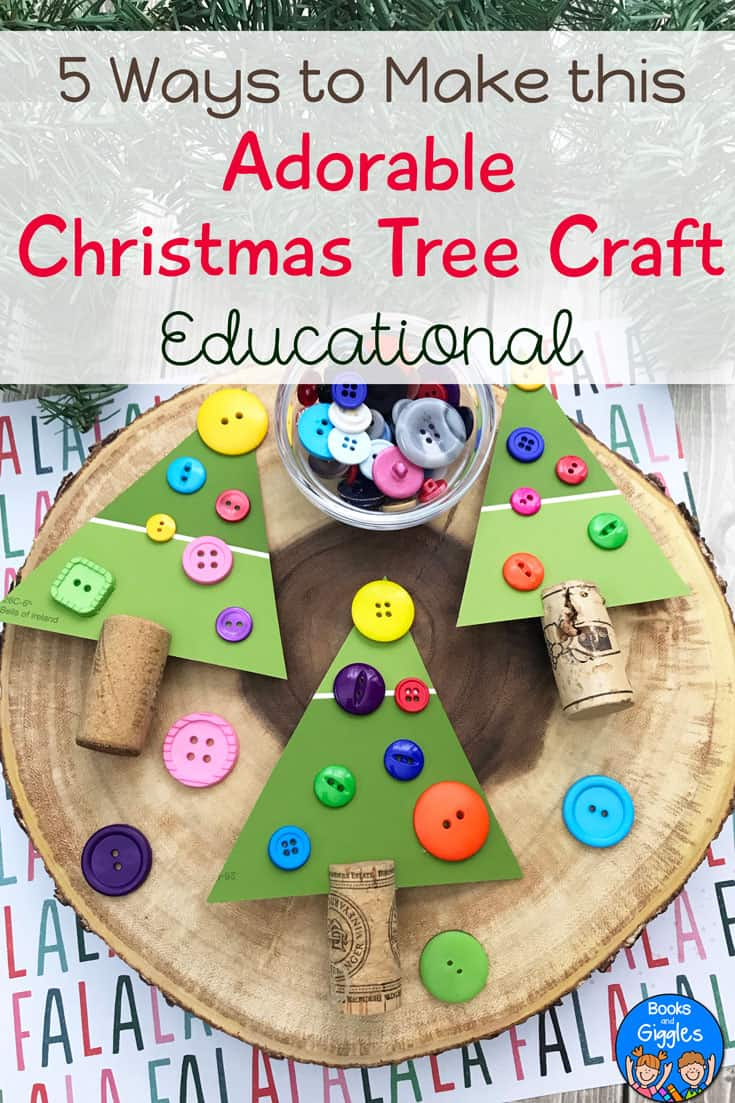 This Christmas tree craft comes with suggestions to make it educational as well as adorable. #christmascrafts #christmascraftsforkids #kidscrafts #preschoolactivities #booksandgiggles