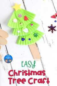 This easy Christmas tree craft for kids is also a puppet! It's perfect for preschool to early elementary. Plus, we recommend a picture book to go with it!