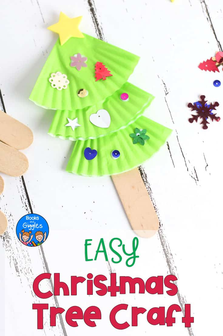 This easy Christmas tree craft for kids is also a puppet! It's perfect for preschool to early elementary. Plus, we recommend a picture book to go with it. #christmascrafts #christmascraftsforkids #kidscrafts #preschoolactivities #booksandgiggles