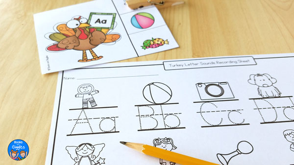 Recording sheet for Thanksgiving letter sound clip cards