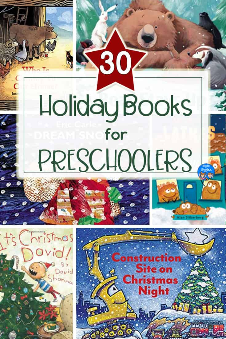 These preschool holiday books include brand new titles as well as favorite classics.  Includes books about Christmas, Hannukah, and more. #booksandgiggles #preschool #christmasforkids