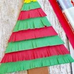 Paper Christmas tree craft inspired by the book North Pole Ninjas