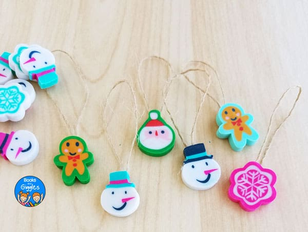 christmas ornaments made from mini erasers