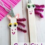 Unicorn craft made with popsicle sticks