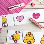 Preschool Valentine Activity: Bee My Valentine ABC Clip Cards