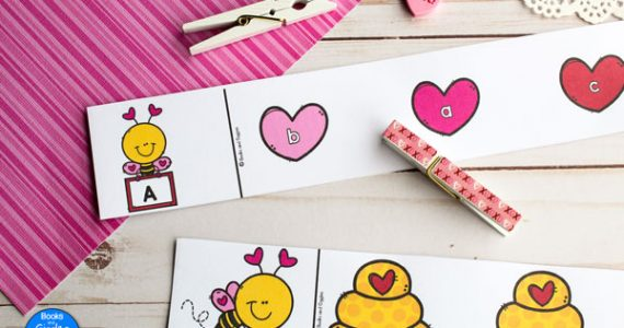 preschool Valentine activity ABC clip cards
