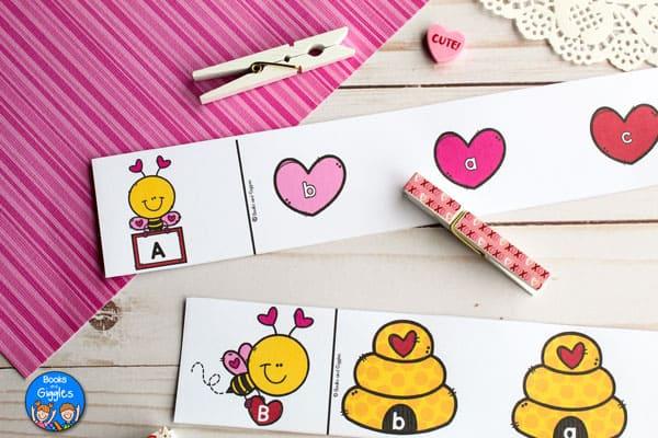 preschool valentine activity with clothespins