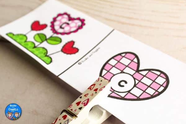 closeup of valentine alphabet activity
