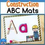 construction theme alphabet playdough mats