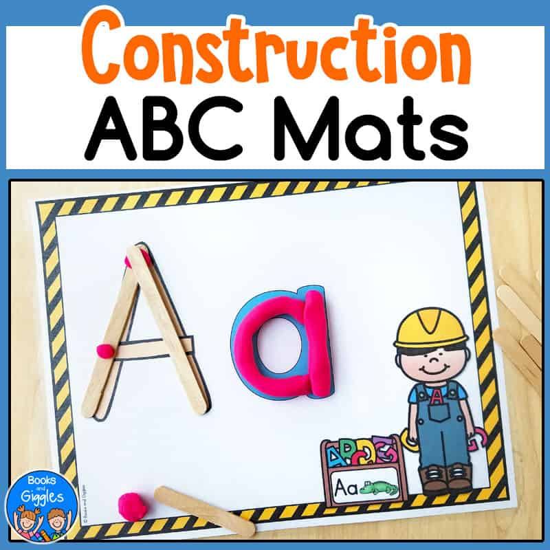 construction theme alphabet playdough mats