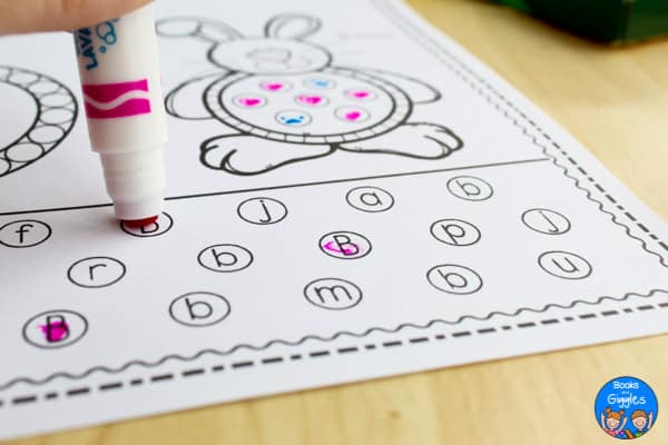 stamp marker on letter recognition worksheet