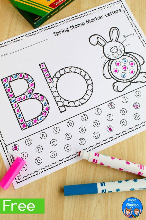 spring alphabet worksheets for stamp markers