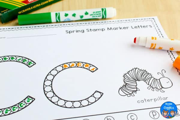 free alphabet worksheet - C for caterpillar
