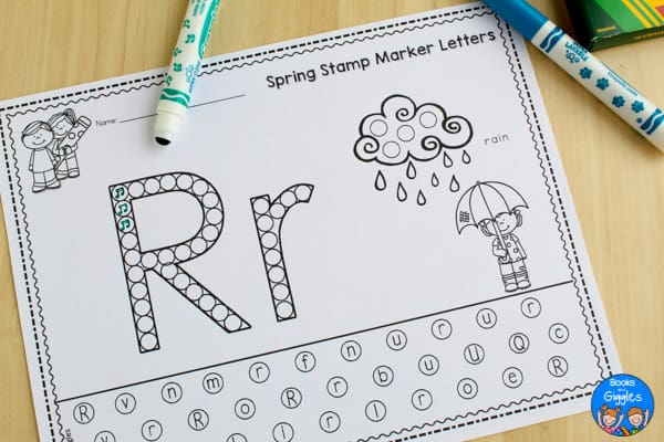 free alphabet worksheet - R for rain