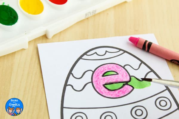 painting preschool Easter activity with watercolors