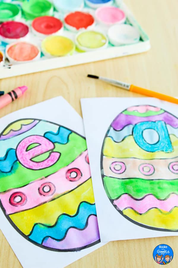 printable easter egg watercolor activity for preschoolers