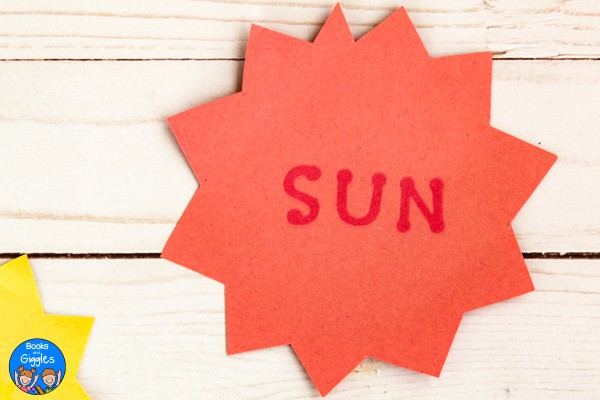 "craft with letters spelling the word ""sun"""