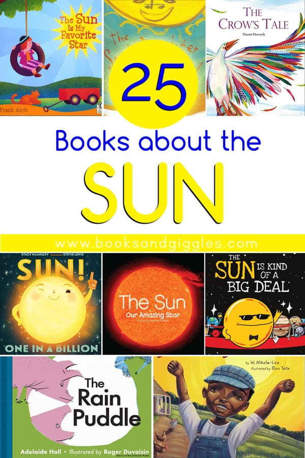 collage of books about the sun for kids