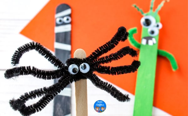 Halloween spider, mummy, and monster craft stick puppets