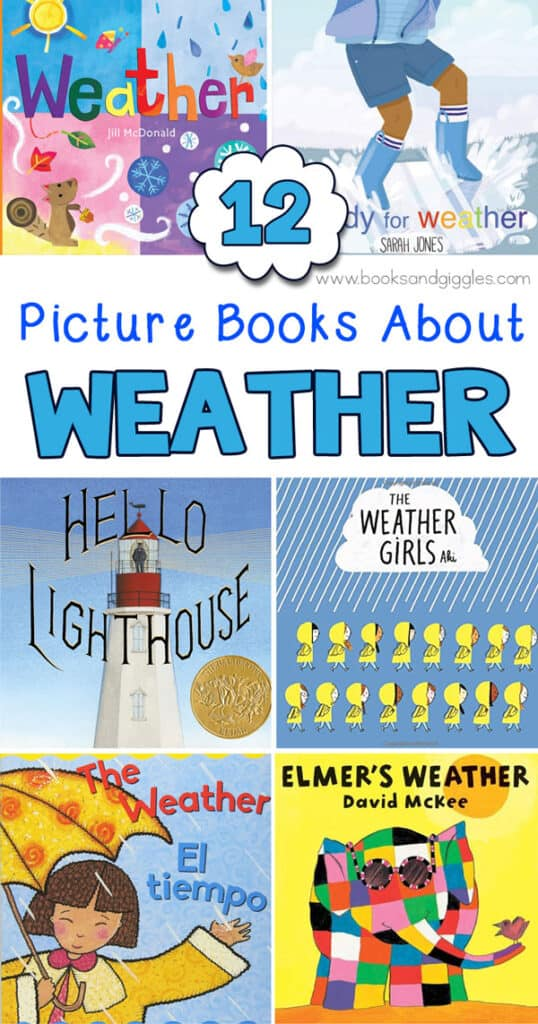 collage of fiction weather books for preschool or kindergarten