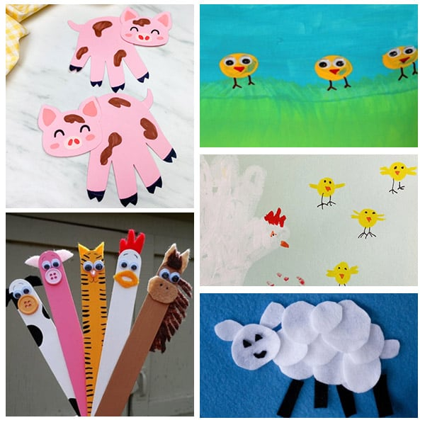 collage of farm crafts for kids