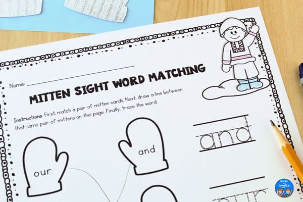This free printable sight word activity for The Mitten by Jan Brett is editable!