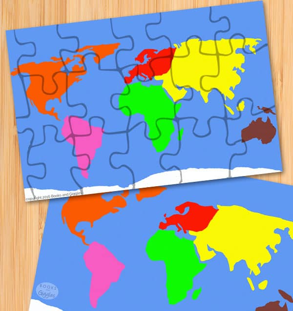 free printable continent puzzle
