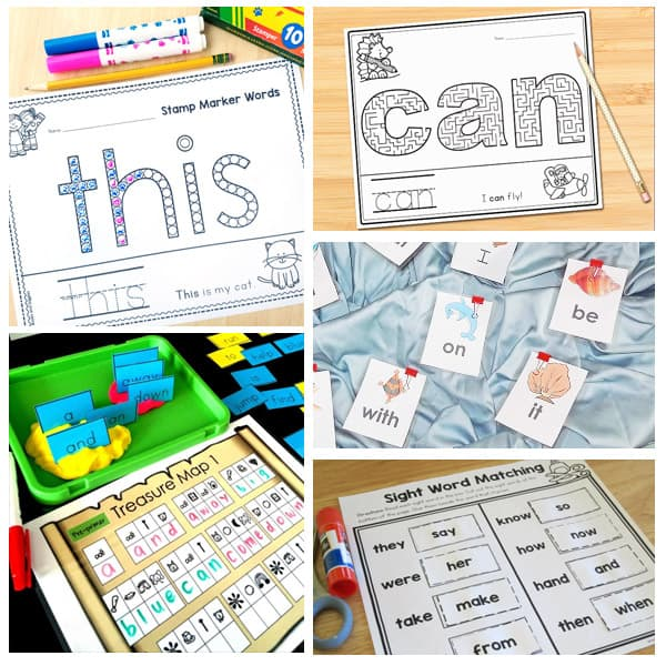 sight word printables collage