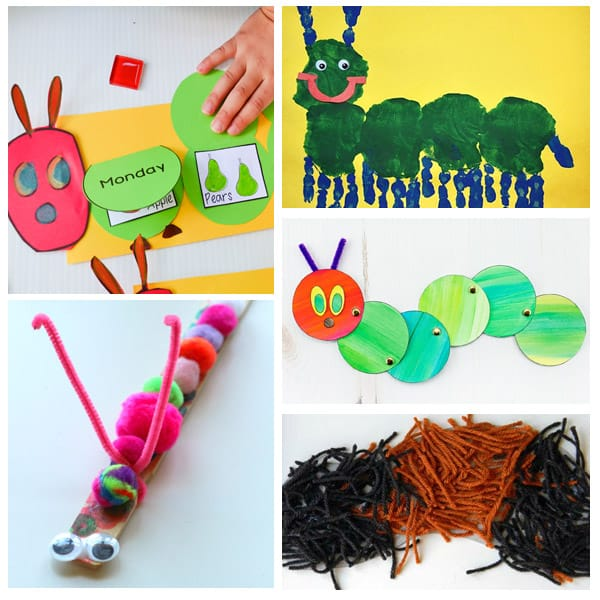 collage of preschool caterpillar crafts
