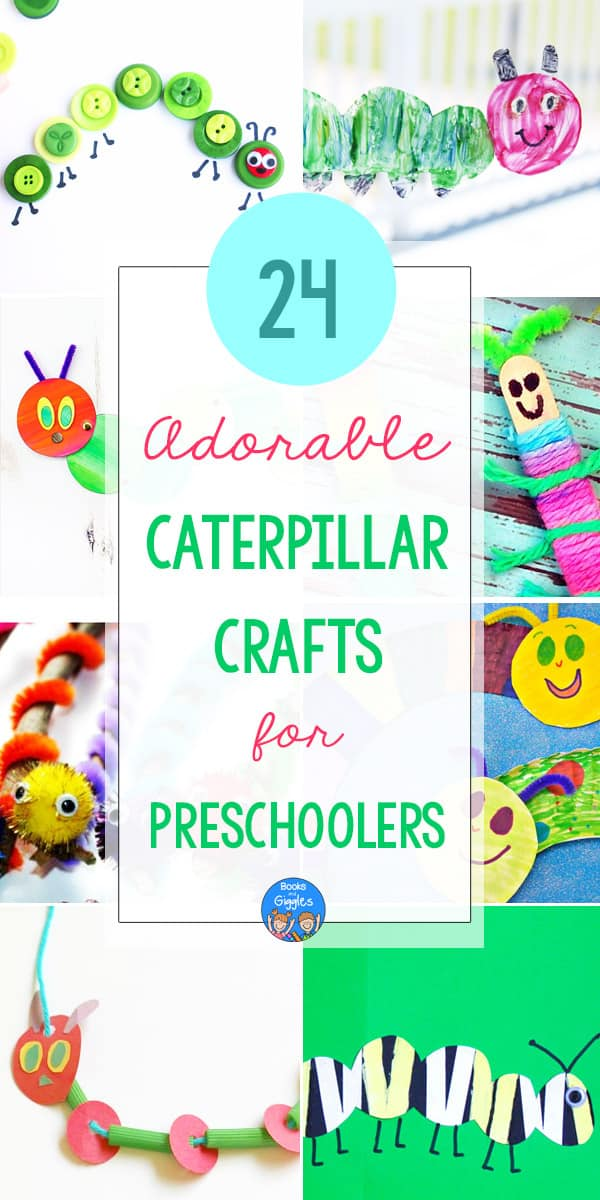 Title collage of preschool caterpillar crafts