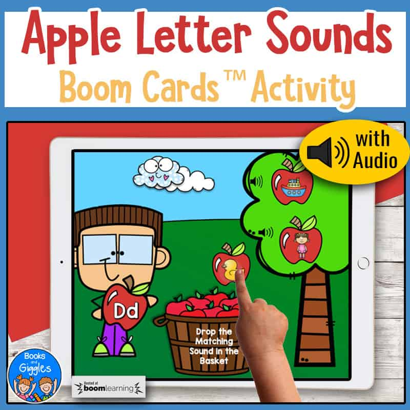 ipad showing a child using an apple letter sounds boom cards activity with audio