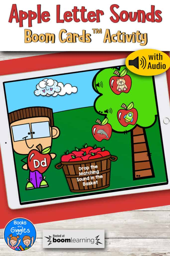 apple letter sounds boom cards activity