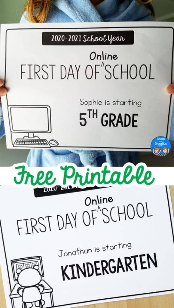 girl wearing a bathrobe holding a sign that says First Day of Online School, and a plain sign on a table.