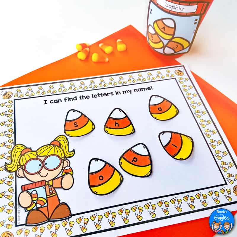 "printable name activity with letters printed on paper ""candy corn"""