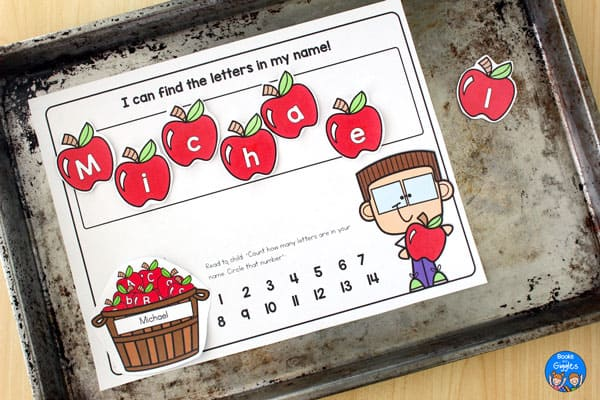 cookie sheet with magnetic apple name activity in process on it
