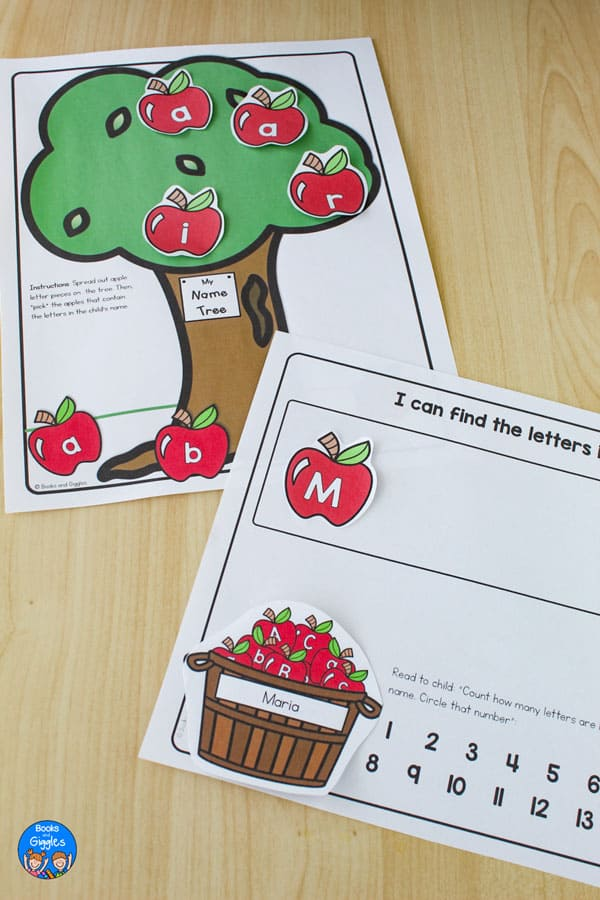 Printable Apple tree with cutout letter-apples and a printed apple basket with a child's name on it