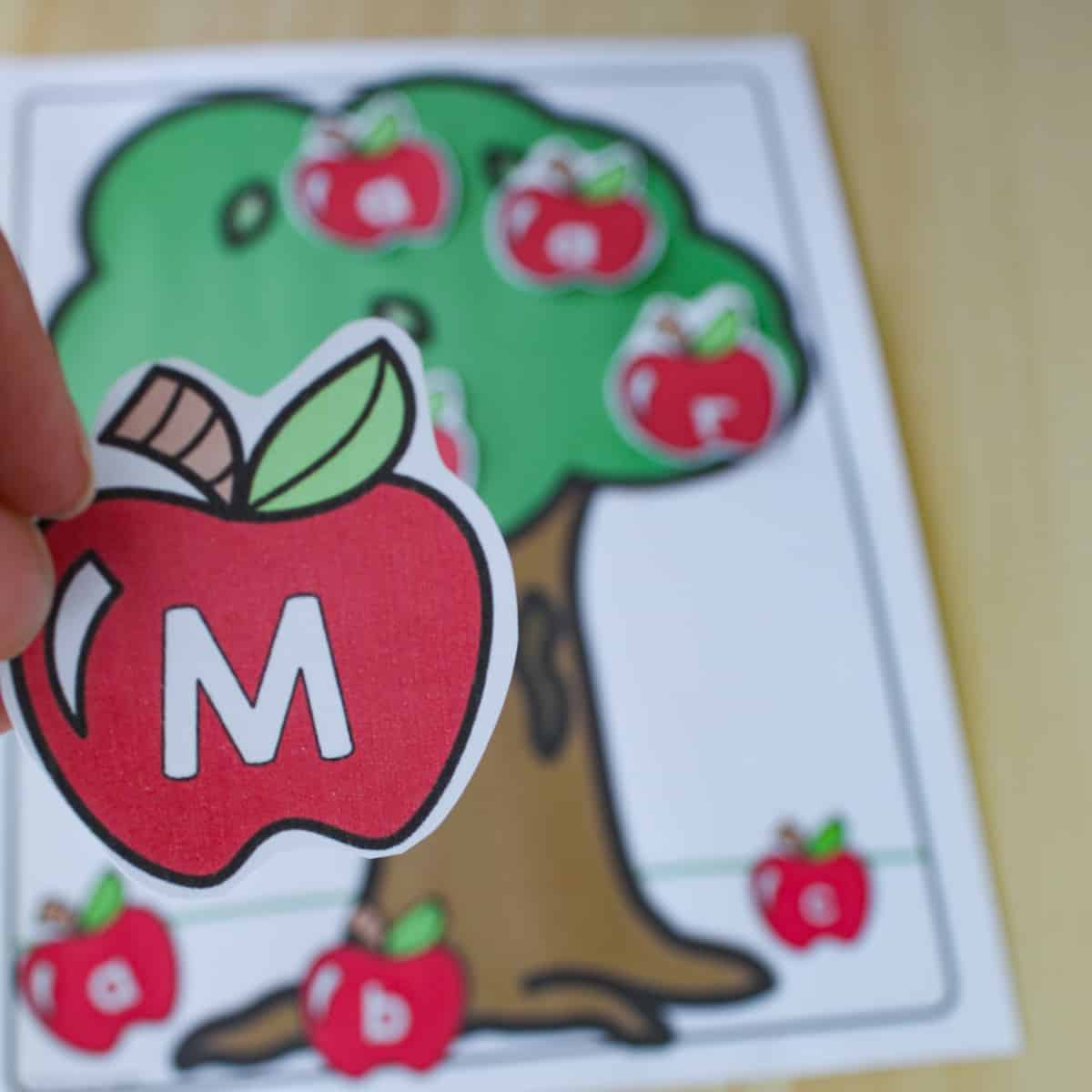 closeup of an apple letter with an apple tree name printable blurred in the background