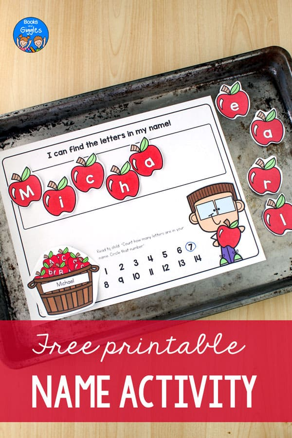 "Name activity on a cookie sheet and the image title ""Free printable Name Activity"""
