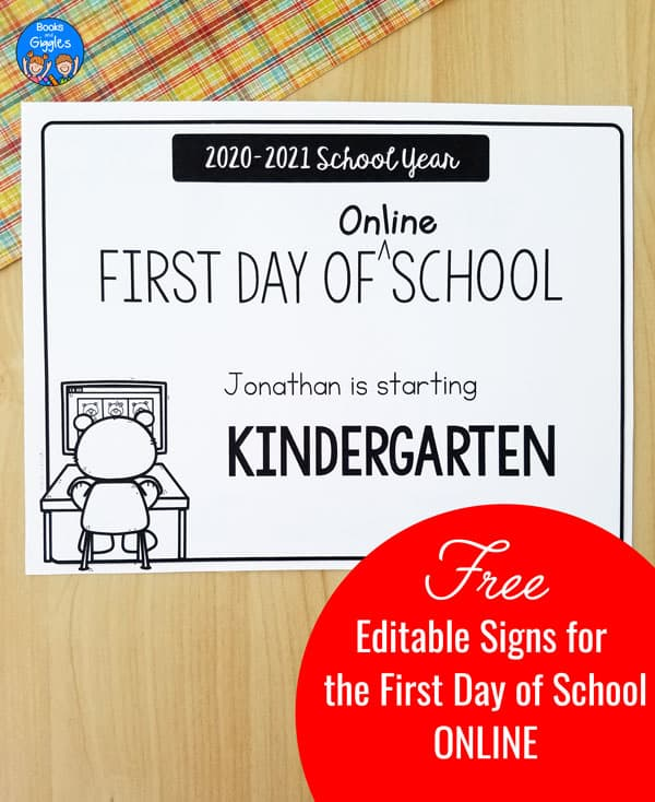 printable that says 2020-2021 school year first day of online school. The kindergarten version is shown here.