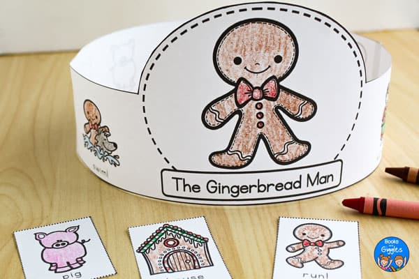 printable story sequencing hat for The Gingerbread Man, colored with crayon and assembled