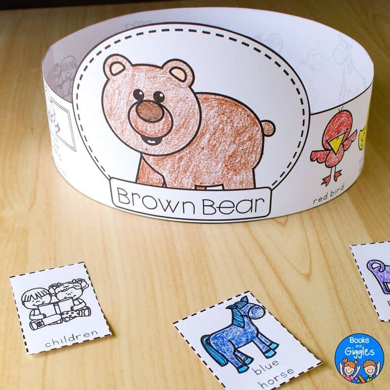 "printable story sequencing hat that says ""brown bear"" and is colored with crayon and assembled"