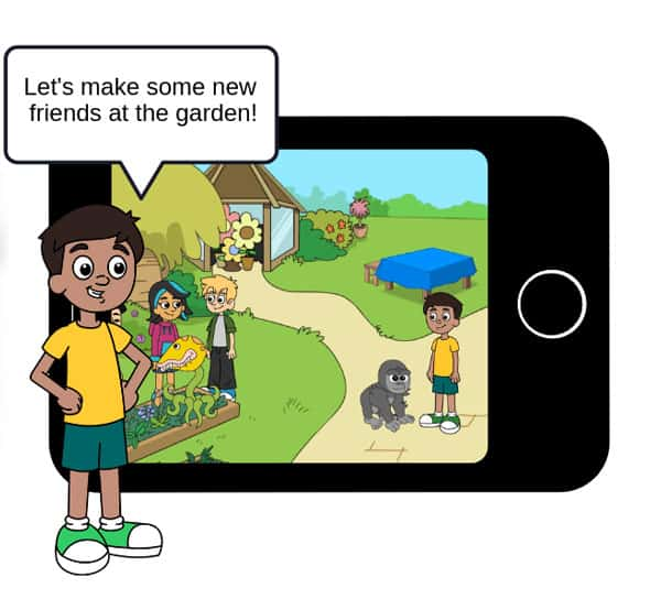 "Illustrated screenshot of the centervention SEL program with a cartoon boy and speech bubble saying ""Let's make some new friends at the garden!"""