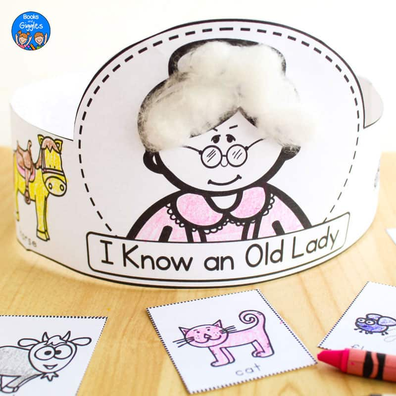 "printable story sequencing hat labelled ""I Know an Old Lady"", with cotton glued to the lady's hair, and colored with crayon and assembled"