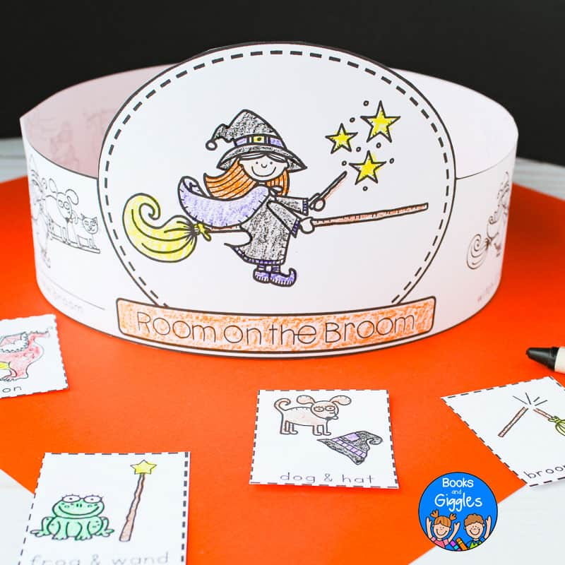 "printable story sequencing hat that says ""room on the broom"" and is colored with crayon and assembled"
